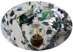 Lampenfieber - Lampe aus Hasendraht und Pulpe
